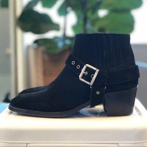 All Saints Shoes - All Saints Black Suede Harness Booties